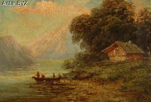 "ANTIK.BYZ: антиквариат, серебро, фарфор, часы | Картина ""На озере"""