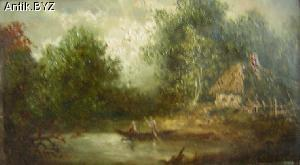 "ANTIK.BYZ: антиквариат, серебро, фарфор, часы | Картина ""Домик у озера"""